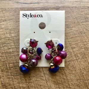 Style & Co Pink and Purple Drop Earrings